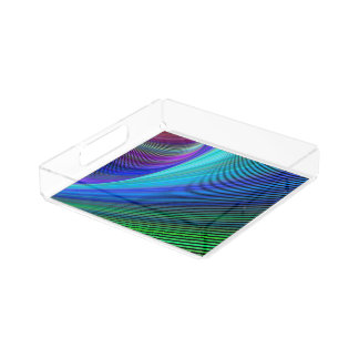 Surfing in a magic wave acrylic tray
