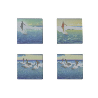 """Surfing in Hawaii"" coasters 1918-1921 Stone Magnets"