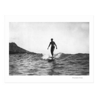 Surfing in Honolulu Hawaii Longboard Surfer Postcard