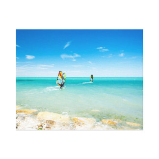 Surfing in the blue canvas print