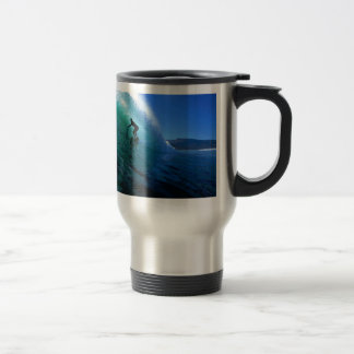 Surfing in the green tube South Africa paradise Travel Mug
