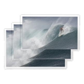 Surfing indonesia java island acrylic tray
