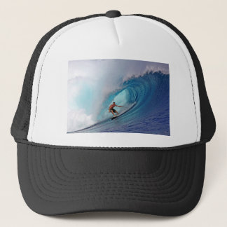 Surfing large blue wave Mentawai Islands Trucker Hat