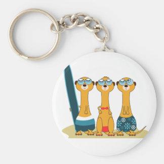 Surfing Meercats Keychain