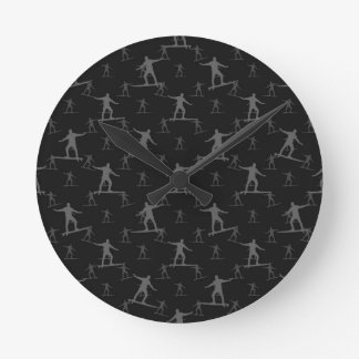 Surfing Motif Pattern Round Clock
