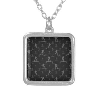 Surfing Motif Pattern Silver Plated Necklace