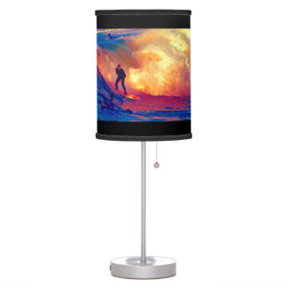 Surfing on Flaming Ocean Table Lamp
