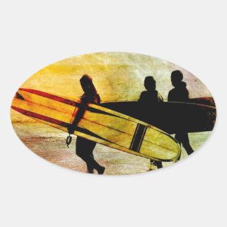 Surfing Oval Sticker