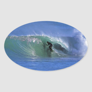 Surfing perfect green tube New Zealand surf waves Oval Sticker