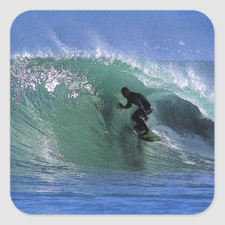 Surfing perfect green tube New Zealand surf waves Square Sticker