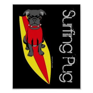 Surfing Pug Poster