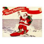 Surfing Retro Santa Postcard