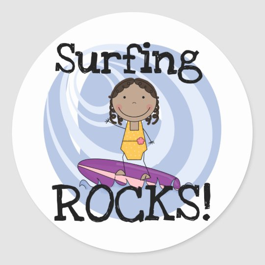 Surfing Rocks African American Girl Tshirts Classic Round Sticker