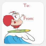 Surfing Santa Claus Square Sticker