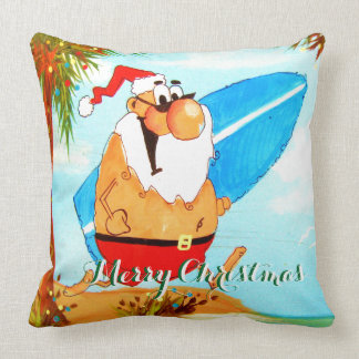 Surfing Santa Holiday  Pillow