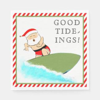 Surfing Santa Paper Napkin