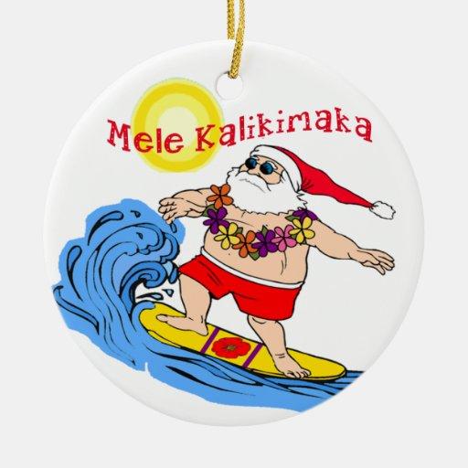 Surfing Santa Tropical Hawaiian Christmas Ornament