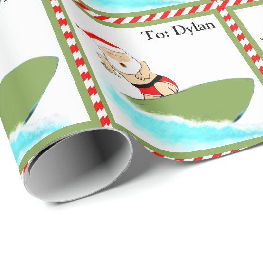 Surfing Santa Wrapping Paper