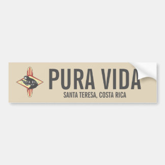 Surfing Sloth Red Pura Vida Costa Rica Bumper Bumper Sticker