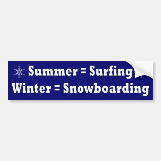 Surfing & Snowboarding Equation bumper sticker