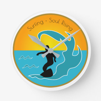 Surfing Soul Rising Round Clock