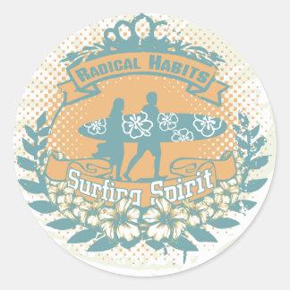 Surfing Spirit Tshirts and Gifts Classic Round Sticker