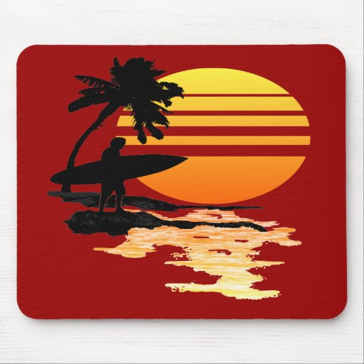 Surfing Sunrise Mouse Pads