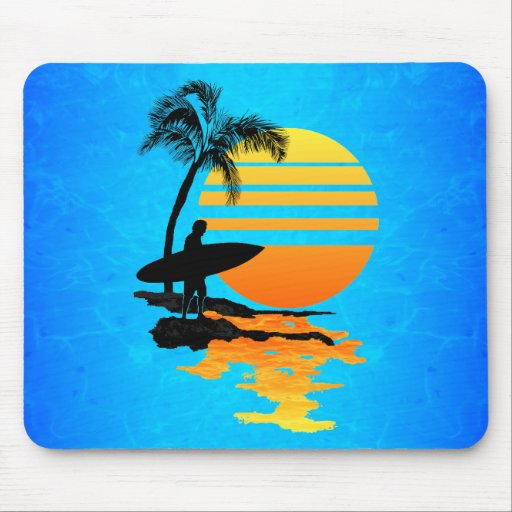 Surfing Sunrise Mousepads