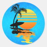 Surfing Sunrise Round Sticker