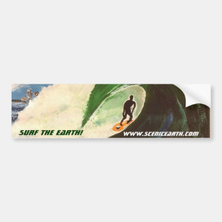 Surfing Surf the Earth Tube Ride Car Sticker Art