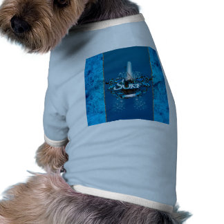 Surfing, surfboard with decorative floral elements dog shirt