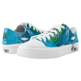 Surfing, surfboard with palm Low-Top sneakers