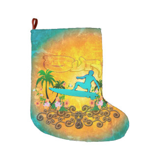 Surfing, surfboarder with palm and flowers large christmas stocking