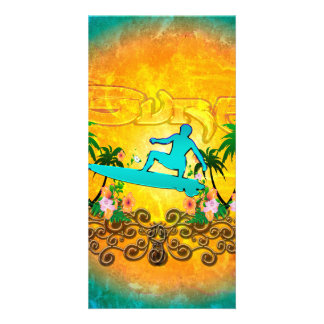 Surfing, surfboarder with palm and flowers photo greeting card