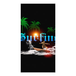 Surfing, surfboarder with palm picture card