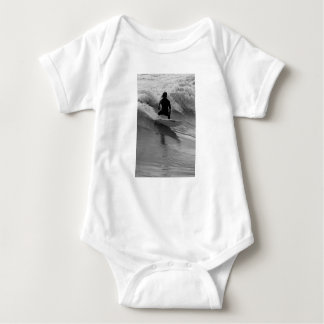 Surfing The Waves Grayscale Baby Bodysuit