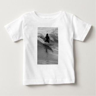Surfing The Waves Grayscale Baby T-Shirt
