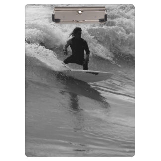 Surfing The Waves Grayscale Clipboard