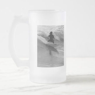 Surfing The Waves Grayscale Frosted Glass Beer Mug