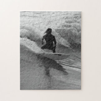 Surfing The Waves Grayscale Jigsaw Puzzle