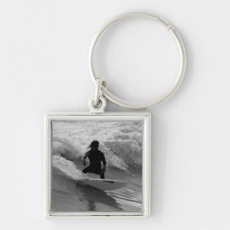 Surfing The Waves Grayscale Keychain