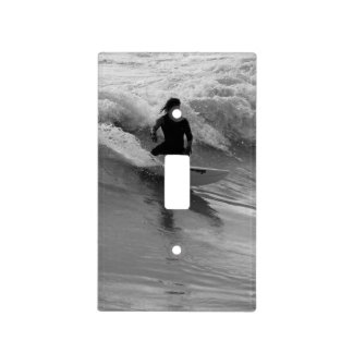 Surfing The Waves Grayscale Light Switch Cover