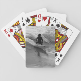 Surfing The Waves Grayscale Playing Cards