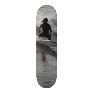 Surfing The Waves Grayscale Skateboard