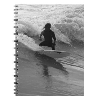 Surfing The Waves Grayscale Spiral Notebook