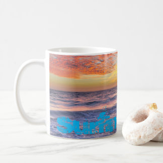 Surfing Time! - Beach waves at sunset Coffee Mug