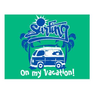 Surfing tour van postcard