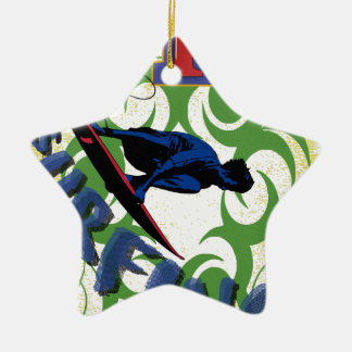surfing tribal ceramic ornament