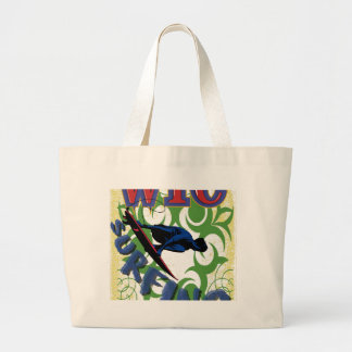 surfing tribal large tote bag