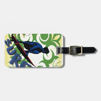surfing tribal luggage tag